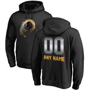 Men's Washington Redskins Black Personalized Midnight Mascot Pullover Hoodie