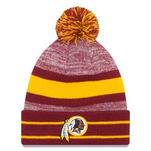 New Era Washington Redskins Burgundy Team Logo Cuffed Knit Hat with Pom