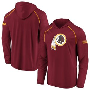 Men's Washington Redskins Burgundy Iconic Defender Hooded Long Sleeve T-Shirt