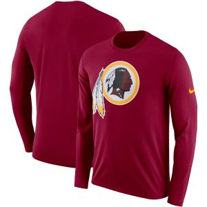 Men's Washington Redskins Nike Burgundy Fan Gear Primary Logo Performance Long Sleeve T-Shirt
