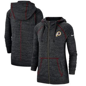 Women's Washington Redskins Nike Heathered Black Gym Vintage Raglan Full-Zip Hoodie